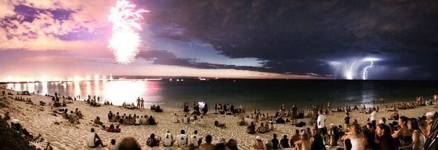 A comet, a lightning strike and fireworks in one photo